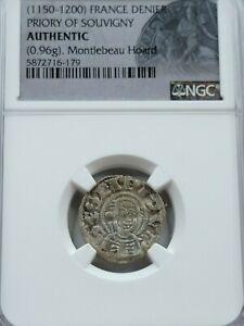 NGC Authentic Medieval French AR Denier. 1150-1200AD. Priory of Souvigny.