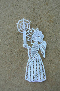 Christmas - Angel & candle - sew-on lace motif/applique/patch/craft/card making