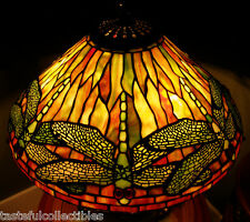 """Quoizel Tiffany Reproduction Stained Glass Lamp Shade Dragonfly 16""""  Orange Gold"""