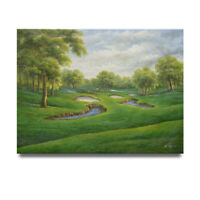 NY Art - Beautiful Country Club Golf Course 36x48 Oil Painting on Canvas - Sale!