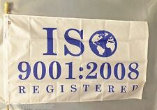 ISO 9001:2008 4X6' NYLON FLAG NEW WHITE WITH BLUE LETTERS ISO REGISTERED