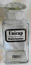 "Rare Vintage Upjohn Unicap Multivitamins 4"" Bottle with All Glass Stopper -# 600"