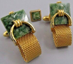 Mens Vintage Jewelry Jade MESH WRAP AROUND CUFFLINKS N37