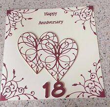 Handmade Garnet Wedding Anniversary card Happy 18th Wedding Anniversary