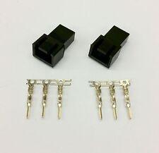 PK OF 2 - MALE 3 PIN FAN POWER CONNECTOR - BLACK INC PINS