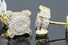 .59 CARAT YELLOW GOLD FINISH MENS WOMENS 9mm 100% REAL DIAMONDS EARRINGS STUDS
