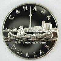 1984 CANADA PROOF SILVER DOLLAR HEAVY CAMEO COIN