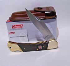 Coleman Pocket knife Folding Hunter with Leather Sheath Free Shipping Usa