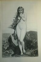 Jules LEFEBVRE (1836-1911) Gravure ORIGINALE FEMME LYRE MUSIQUE NU ACADEMISME