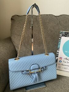 GUCCI Microguccissima Medium Emily Chain Shoulder Bag Light Blue