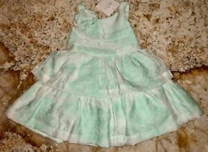 JANIE and JACK Floral Jacquard Mint Green White Dress NEW Infant Girls 3-6 Mos