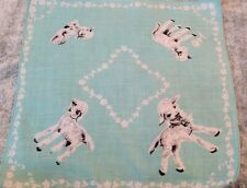 Vintage Childs Hankie with Lambs