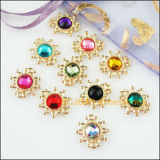 10Pcs Gold Plated Sun Flower Mixed Crystal Charms Pendants Connectors 14x15mm