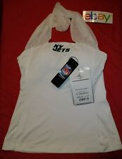 NWT ! All Sport Couture NFL Women NEW YORK JETS SHEER ROUCHED COLLAR Halter Top