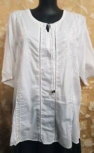 CC Collection #7276 Size 22 Ladies Top Summer White Cotton Resort Holiday Career