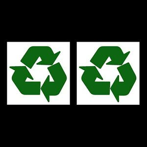 2 x Recycle Recycling Stickers Logo 100x100mm Symbol Vinyl Bin Enviroment