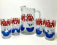 Vintage 5 Piece Red White and Blue Pitcher Tumbler Set Flowers 4th of July Picni