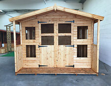 Garden Apex Summerhouse 10 x 10 ft + 2ft porch.19mm cladding