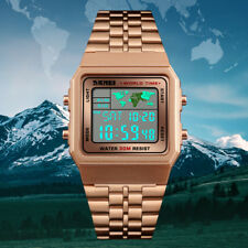 SKMEI Mens Watches Business World Time Date Digital Boys Wristwatch Waterproof.