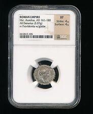 NGC XF Roman Empire Mar. Aurelius AD 161-180 AR Denarius Rev. Providentia Globe