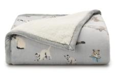 "NEW Cuddl Duds Cozy Soft Plush Throw Blanket 50""x60"" Sherpa Kitty Cats Blue Gray"