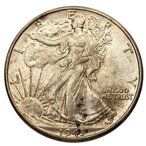 1943 Silver Walking Liberty Half Dollar 50C (Brilliant Uncirculated Condition)