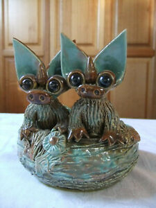 Rare Vintage Yare Designs England 2 Dragons Hatching From Eggs Dragon sculpture