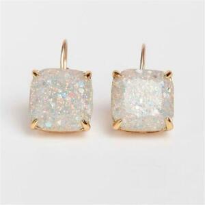 Kate Spade New York Small Square Stud Opal Glitter Leverback Drop Earrings