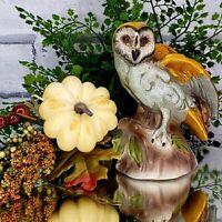 Vintage Elegant White Faced Barn Owl Figurine Statue Fall Harvest Spring