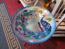 "LARGE GLASS PEACOCK DESIGN TABLE/BIRD BATH PLATE IS 15"" HEIGHT IS 19"" PERFECT"