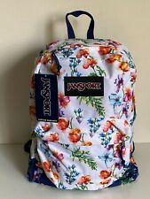 NEW! JANSPORT SUPERBREAK WHITE FLORAL MOUNTAIN MEADOW SCHOOL TRAVEL BACKPACK BAG