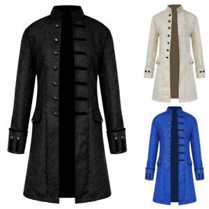 Herren Retro Mantel Steampunk Mantel Gothic Gehrock Viktorianisch Smokinghemd DE