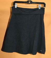 Athleta Womens BLACK Knit Folded Waist Casual FLARE Skirt MEDIUM