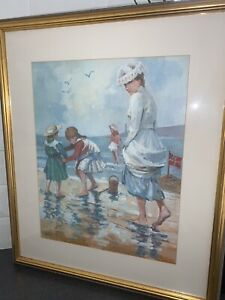 Charming Edwardian Beach Scene Print By Durkin mounted and framed