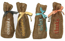 Wow! Embroidered Wine Gift Bags-Celebrate, Relax, Thanks & Congrats Set of 4