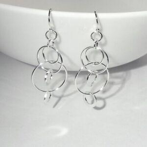 925 Sterling Silver circular drop earrings