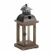 """15 Square Country Wooden Weathered Look Candle Lantern Centerpiece 12.2""""tall New"""