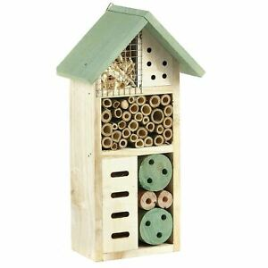 Wooden Insect Bee House Natural Wood Bug Hotel Shelter Garden Nest Box 26cm