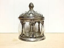 Spectacular Glass and Metal Lidded Trinket Box with a Pineapple Finial