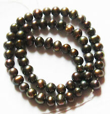 """Freshwater Pearl Antique Bronze 6-7mm Potato Round Loose Beads 15"""" Strand W53"""