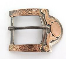 .VINTAGE MEXICAN HECHO DECORATIVE STERLING SILVER & GOLD PLATED BELT BUCKLE.
