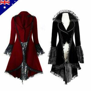 Vintage Steampunk Medieval Gothic Jacket Lace Trim Lace-up High Low Coat Tuxedo