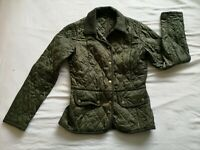 Barbour Women's Olive Green Quilted Coat Jacket Size 8 Good Used Condition