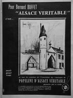 PUBLICITÉ DE PRESSE 1961 POPELINE D'ALSACE VÉRITABLE - BERNARD BUFFET