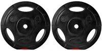 """Bodyrip 1"""" Standard 2 x 15kg Vinyl Tri Grip Weight Plates Discs Weights"""