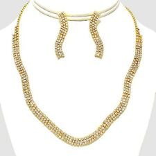 Bridal prom gold tone diamante necklace set sparkly bling bridal evening 555