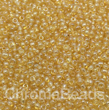 50g glass seed beads - Gold Transparent Lustered - approx 2mm (size 11/0) craft