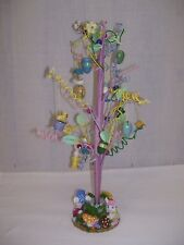 """VTG Easter Tree Wire Wood Ornaments Easter Eggs Girl and Boy Rabbits 18""""  Tall"""