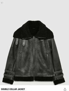 Zara AW 2019/20 Black Contrast Double Collar Biker Jacket Coat Size XL NEW