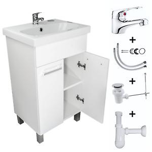 Waschbecken Unterschrank Waschtisch Badmöbel Hochglanz Weiß Badarmatur Badzimmer